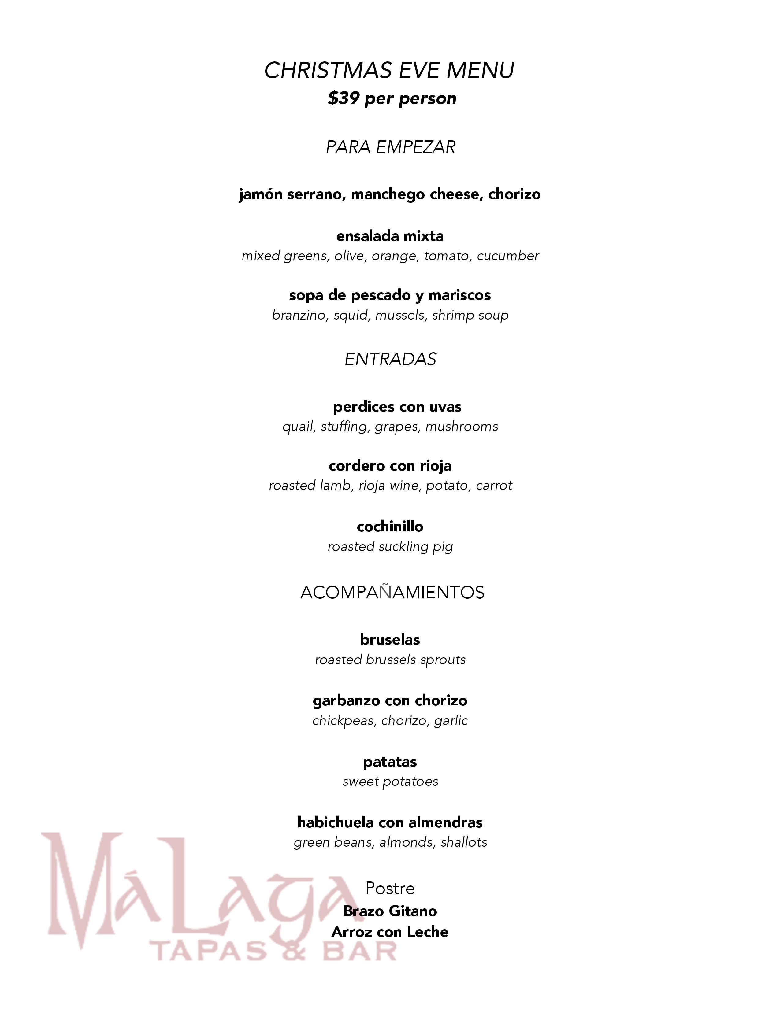 Christmas Eve Dinner Menu.Spanish Style Christmas Eve Dinner In Austin At Closed Malaga